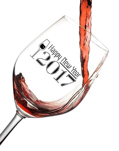 happy new years 2017 wine glass
