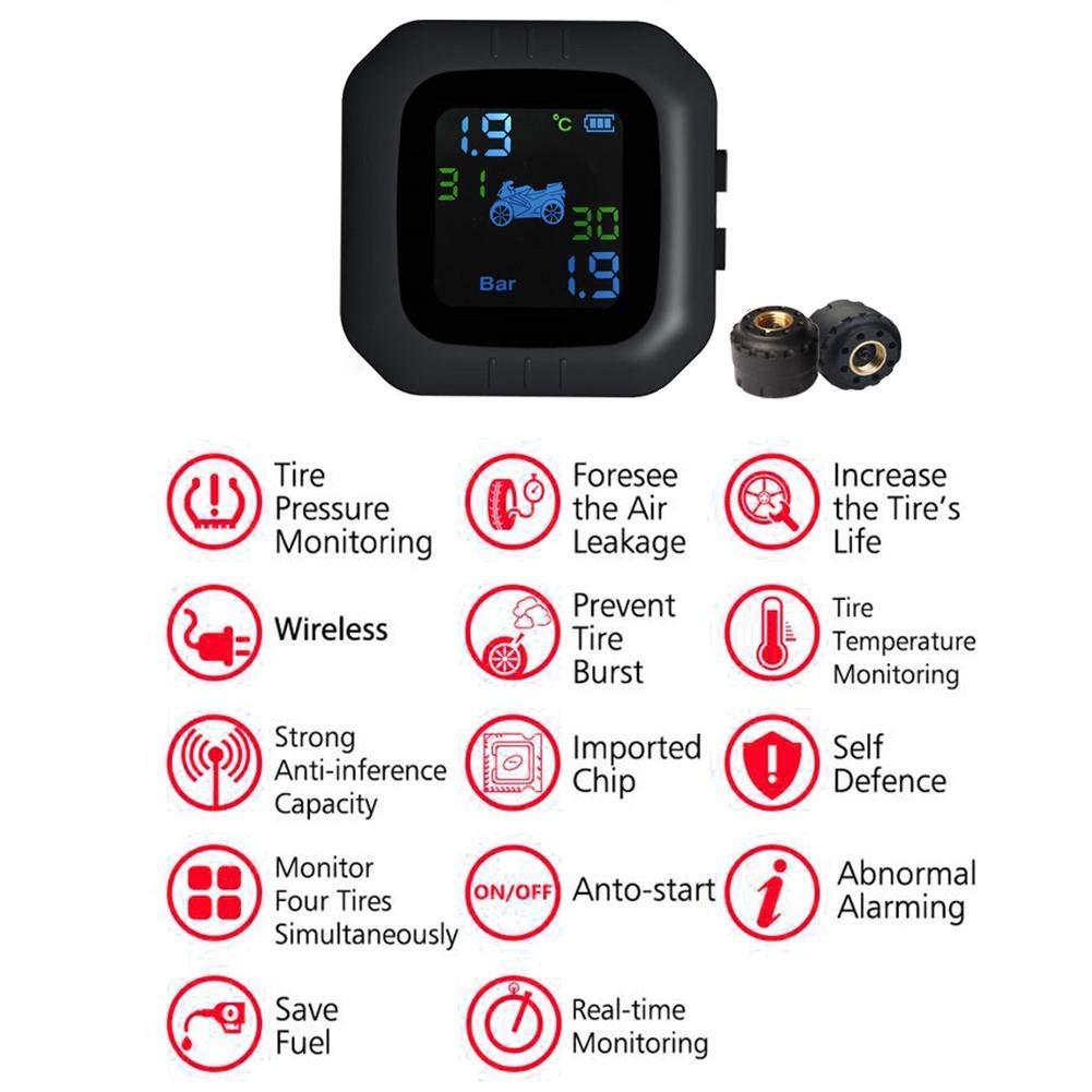 CampHiking Syst/ème de Surveillance de la Pression des pneus sans Fil TPMS avec /écran LCD /à 2 capteurs et Fonction dalarme Anti-vol pour Motos imperm/éable