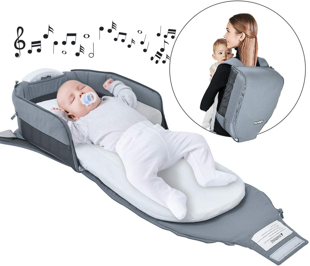 4 in 1   Portable Bassinet   Foldable Baby Bed   with Light and Music Baby Lounger Travel Crib Infant Cot Newborn As A Diaper Bag Changing Station Seat Tummy Time Folding Crib Nursery
