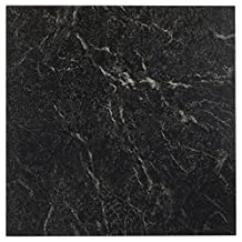 """Roman Palace Collection 20 Pack of 12"""" x 12"""" Self Adhesive High Gloss (No Wax) Finish 1.2mm Thick Vinyl Tiles - Black with White Vein Marble"""