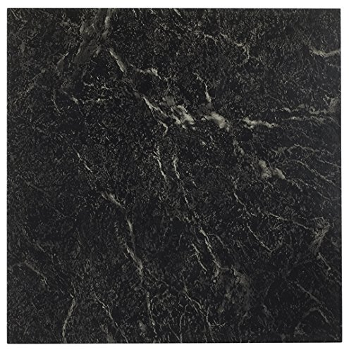 Better Home AchimNexusTile20PK409 Roman Palace Collection 20 Pack of 12 x 12quot Self Adhesive High Gloss No Wax Finish 12mm Thick Vinyl Tiles  Black with White Vein Marble