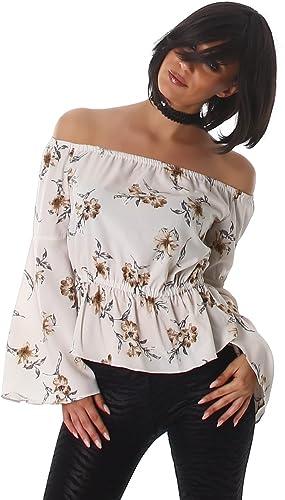 Flor Voyelles camisa de las señoras de la blusa blusas túnica de manga larga con cuello en Pulli Carmen túnica blusa