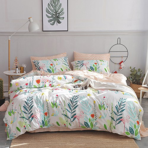 HIGHBUY Cotton Full Comforter Cover for Kids Girls White Peach Floral Flamingo Leave Printing Reversible Fresh Design Queen Bedding Sets for Children Boys with Chevron Stripe Pattern,Zipper Closure by HIGHBUY (Image #1)