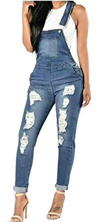 faf473ad39a3 Stylish Ripped Destroyed Denim Stretchy Romper Jumpsuits Jeans Overalls  Womens X-Small