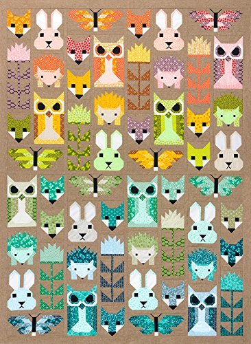 (Elizabeth Hartman Recolored Fancy Forest Quilt Kit Robert Kaufman Fabrics KITP-1790-46)