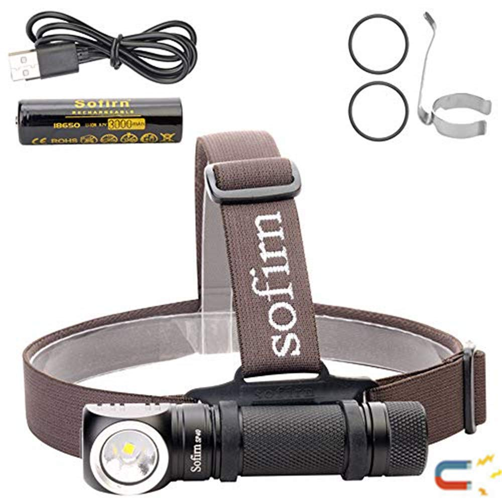 Led Headlamp, Sofirn SP40 Super Bright 1200 Lumen Head lamp, Rechargeable CREE XP-L 5500K Magnetic Tailcap Torch, 18650 battery and USB Cable Inserted by sofirn