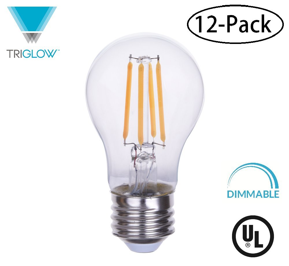 TriGlow T98859-12 (12-Pack) 4.5 Watt (40W Equivalent) A15 Clear Glass Bulb, DIMMABLE 2700K (Warm White), 450 Lumens, E26 Medium Base Light Bulbs