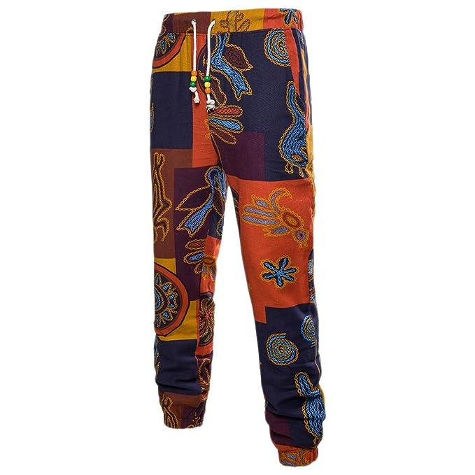 Zhuhaitf Transpirable Loose Lino Deportes Pantalones Casual Joggers Pants Retro Printing para Hombres Adolescentes Talla extra SKjg3