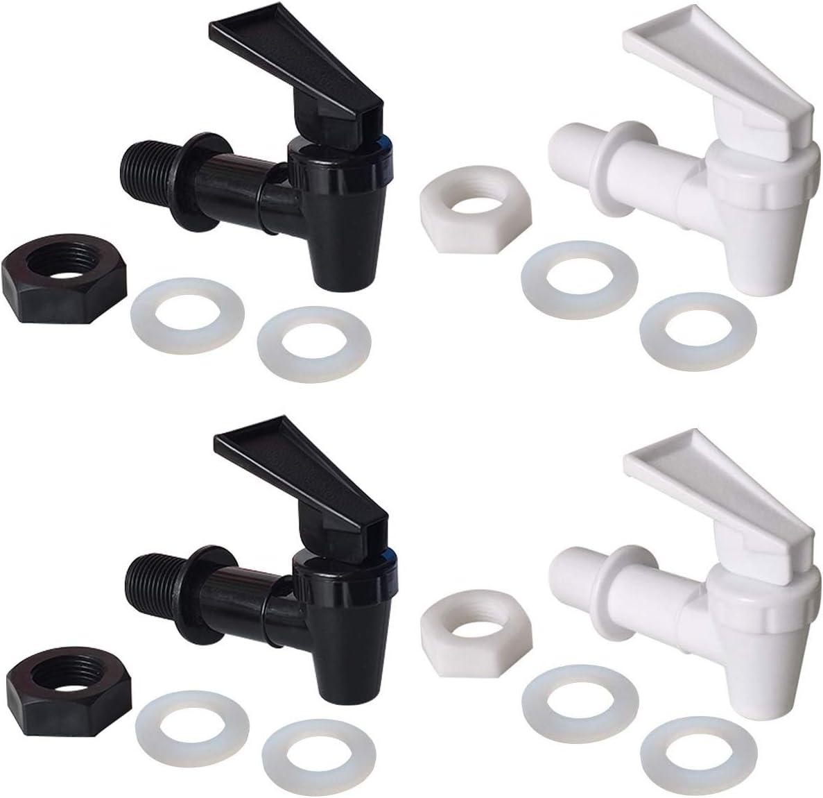 OHOH 4 Sets BPA-Free Replacement Cooler Faucet Water Bottle Jug, Reusable Spigot Spout Water Beverage Lever Pour Dispenser Valve Water Crock Tap(2 Black and 2 White)