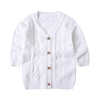 77bad3f41c6b SMILING PINKER Baby Boys Girls Cardigans V-Neck Solid Sweaters Cable ...