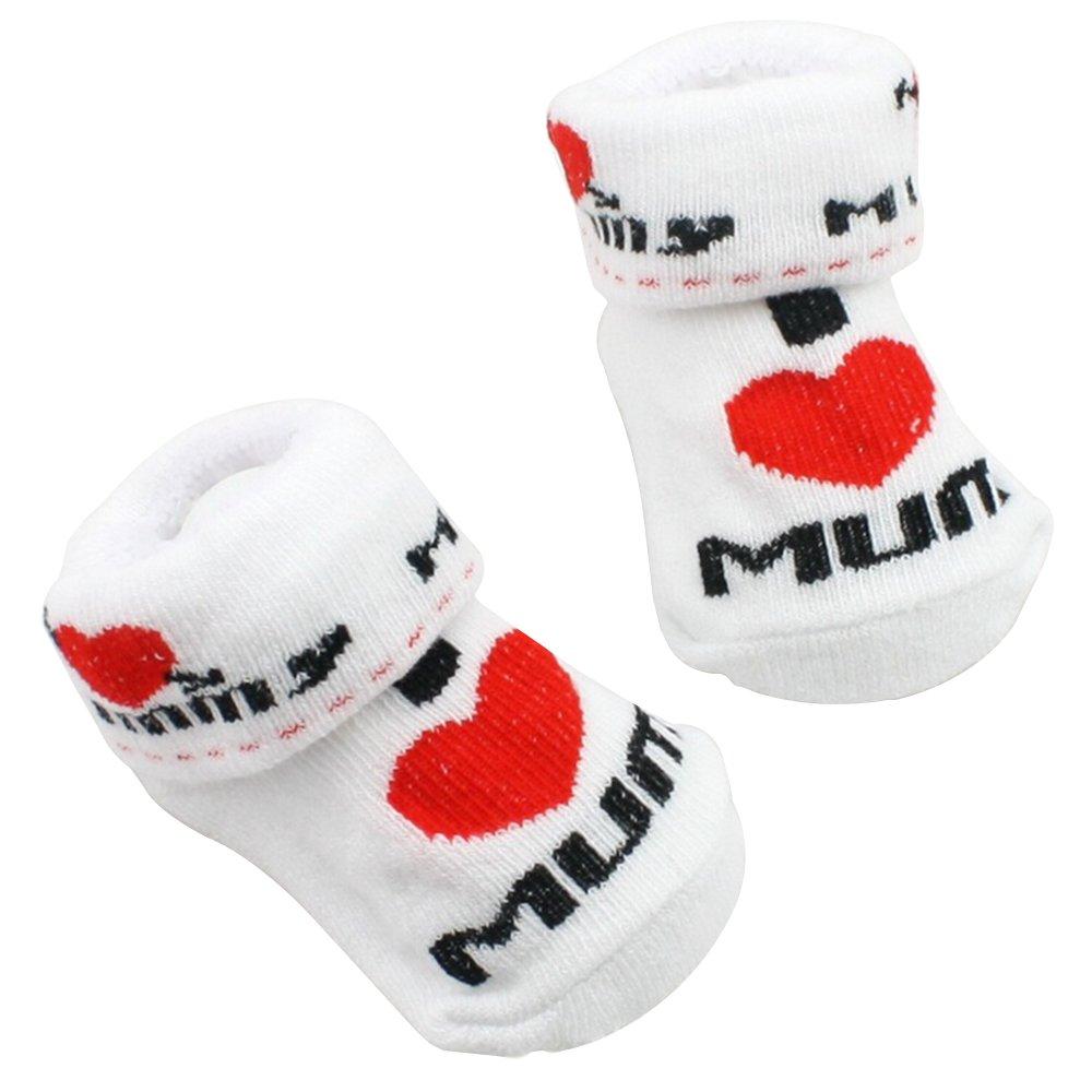 Gemini® Baby Boys Girls Socks Newborn White (PAPA) Gemini_mall