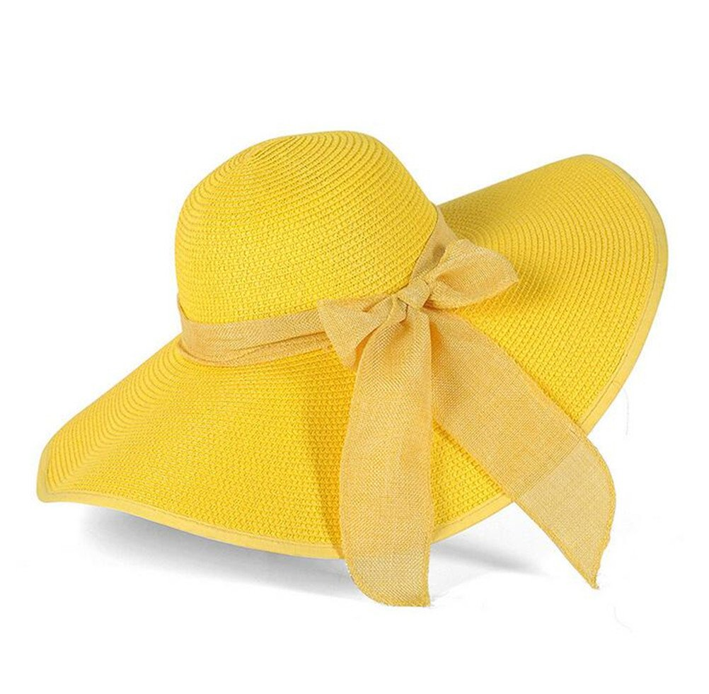 85e16a41e3c GAMT Big Bow Ribbon Female Beach Hat Large Eaves Hats Straw Cap Sun  Vacation For Women Yellow Apparel