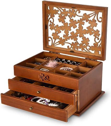 Joyero de Madera Caja Retro de Maquillaje Caja de Almacenamiento de Joyas,Brown: Amazon.es: Belleza