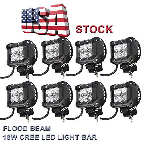 Topcarlight-4-Pairs-8-Pcs-4-Inches-Flood-Beam-8-Degree-Off-Road-Cree-18w-LED-Work-Light-Bar-4wd-Boat-UTE-Driving-ATV-Car