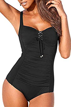 f11ef70f6 LAIMEIAO Women s Retro Tummy Control One Piece Swimsuits Monokini Push Up  Bathing Suits Swimwear XXL Black