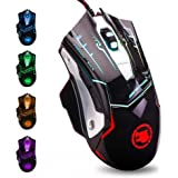 USB Computer Mouse Wired, Light Up Mouse for Laptop with RGB 7 Colors Breathing Light,4 DPI Adjustable up to 3200, 6 Buttons,