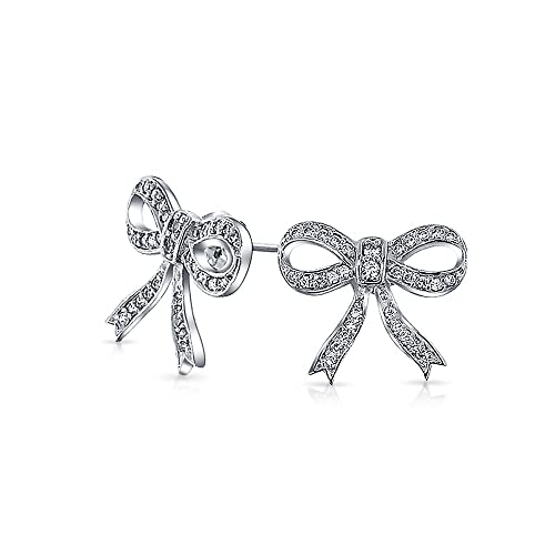 dfba4410b Image Unavailable. Image not available for. Color: Dainty Cubic Zirconia  Colorless CZ Bow Ribbon Pave Open Stud Earrings For Women ...