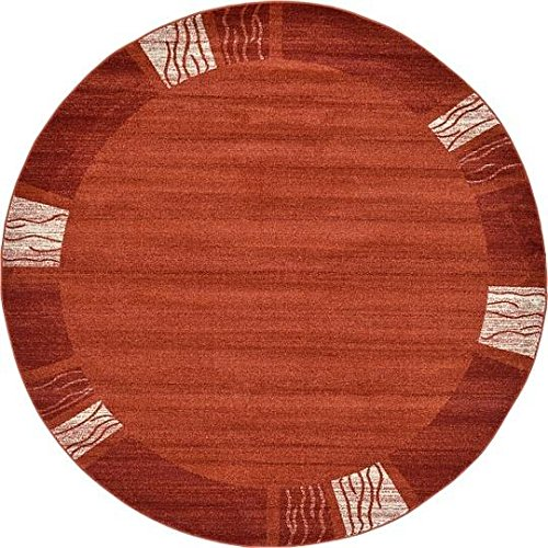 Unique Loom Del Mar Collection Rust Red 8 ft Round Area Rug (8' x 8') Rust 8' Round Area Rug