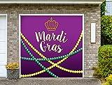 Outdoor Mardi Gras Decorations Garage Door Banner Cover Mural Décoration 8'x8' - Mardi Gras Beads - ''The Original Mardi Gras Supplies Holiday Garage Door Banner Decor''