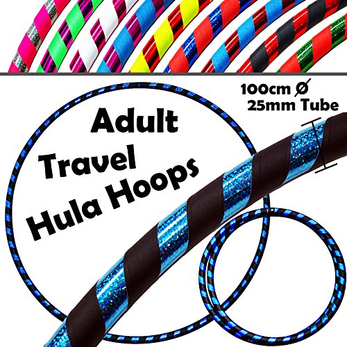PRO Hula Hoops (Ultra-Grip/Glitter Deco) Weighted TRAVEL Hula Hoop (100cm/39') Hula Hoops For Exercise, Dance & Fitness! (640g) NO Instructions Needed - Same Day Dispatch.! (Black / Blue Glitter)