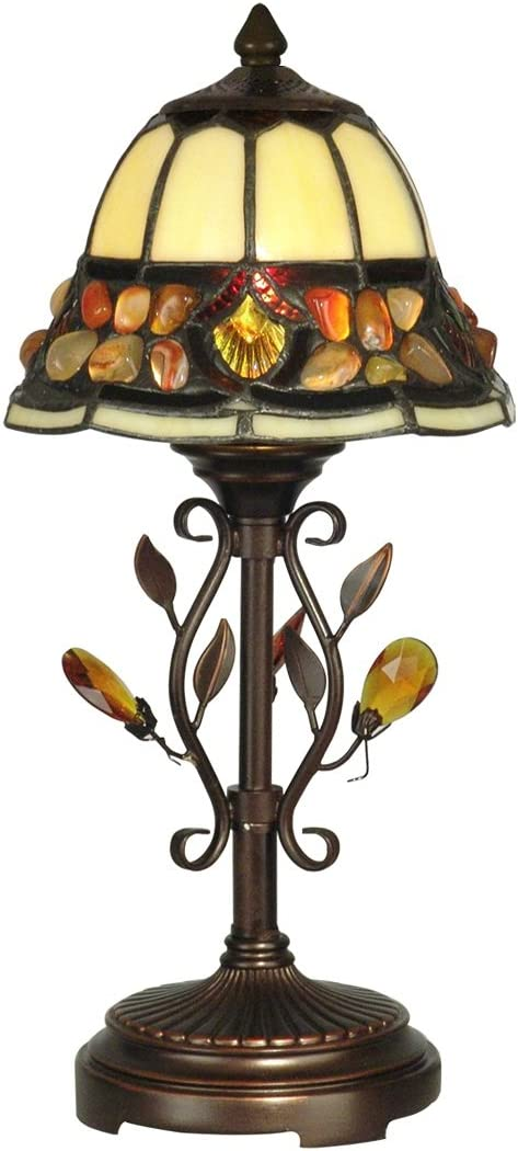 Diva At Home 15.25 Antique Golden Sand Pebble Stone Hand Crafted Glass Tiffany-Style Accent Lamp