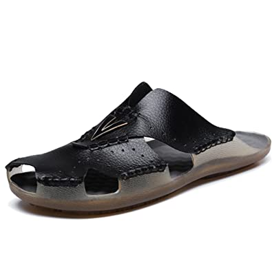 e1fd3030584 YIRUIYA Men s Leather Sandals Mens Casual Slides Non-Slip Outdoor Sports Summer  Beach Closed Toe