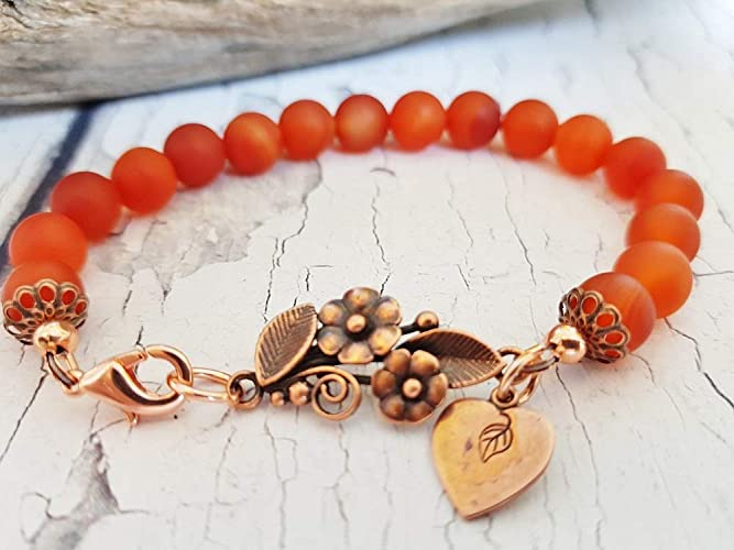 carnelian bracelet femme personalized christmas gifts boho beaded bracelets for women autumn copper red carnelian