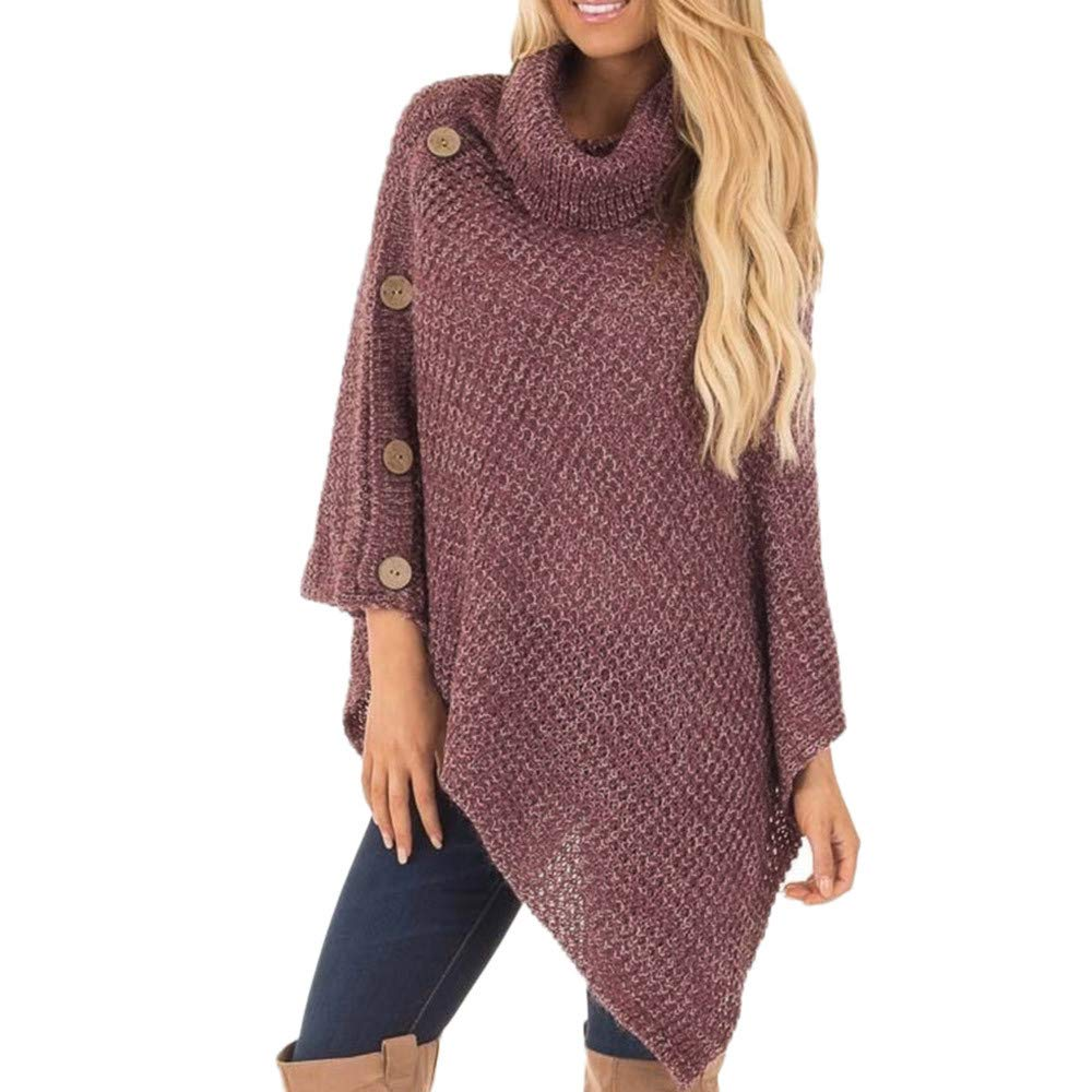 Clearance Women's Knit Turtleneck Sweaters with Button Casual Loose Pullover Irregular Hem Blouse Tunic Top (Small, Red)