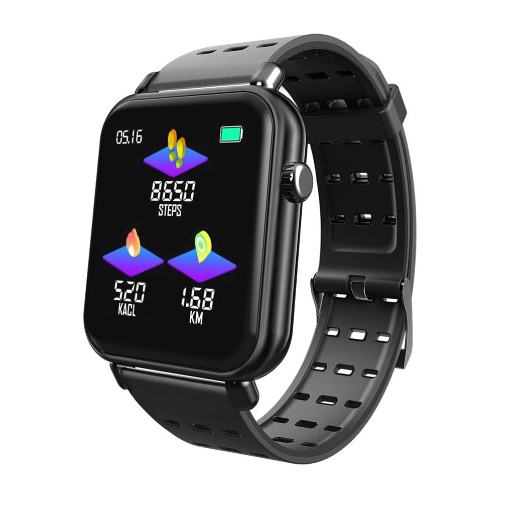 TADAMI Smart Watches Waterproof Bluetooth Smart Watch Heart Rate Monitor Mate for iOS Android Y6 Pro (Black)