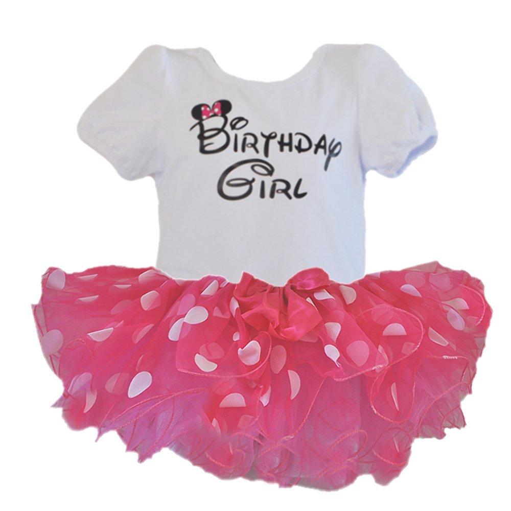 Birthday Girl T-Shirt with Polka Dot Tutu 2 pcs Set red GoForDance