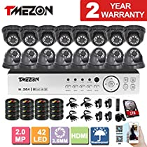 [Better Than 1080N]TMEZON HD 1080P 16 Channel AHD DVR Video Security System with 16 x 2.0MP 2000TVL AHD Cameras 65ft Night Vision 1TB HDD