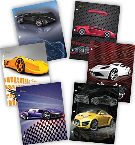 New Generation - Cars - 2 Pocket Folders/Portfolio 48 PACK Letter Size with 3 Hole Punch to use with your Binder Heavy Duty Glossy Finish UV Laminated Folder - Assorted 6 Fashion Design.