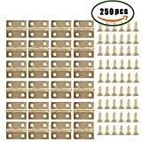 #9: Dayree 50pcs Mini Metal Hinges Light Cabinet Drawer Butt Hinges Connectors for Gift Box Cosmetic Case Dollhouse Furniture with 200 Pieces Replacement Screws 0.6 x 0.7 inch Brass