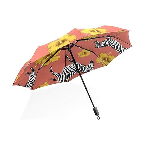 ISAOA Paraguas de Viaje automático Compacto Plegable Paraguas Cebra Amarillo Hibisco Resistente al Viento Ultra Ligero