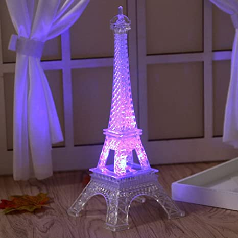 1Pc Fashion Illusion Romantic Eiffel Tower Table LED Night Light Desk  Wedding Bedroom Party Decor Accessories