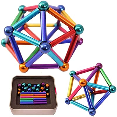 Multi Color Magnet Building Blocks Puzzle Stacking Game Sculpture Toys Magnetic Sticks + Metal Ball (63 Pcs): Home & Kitchen