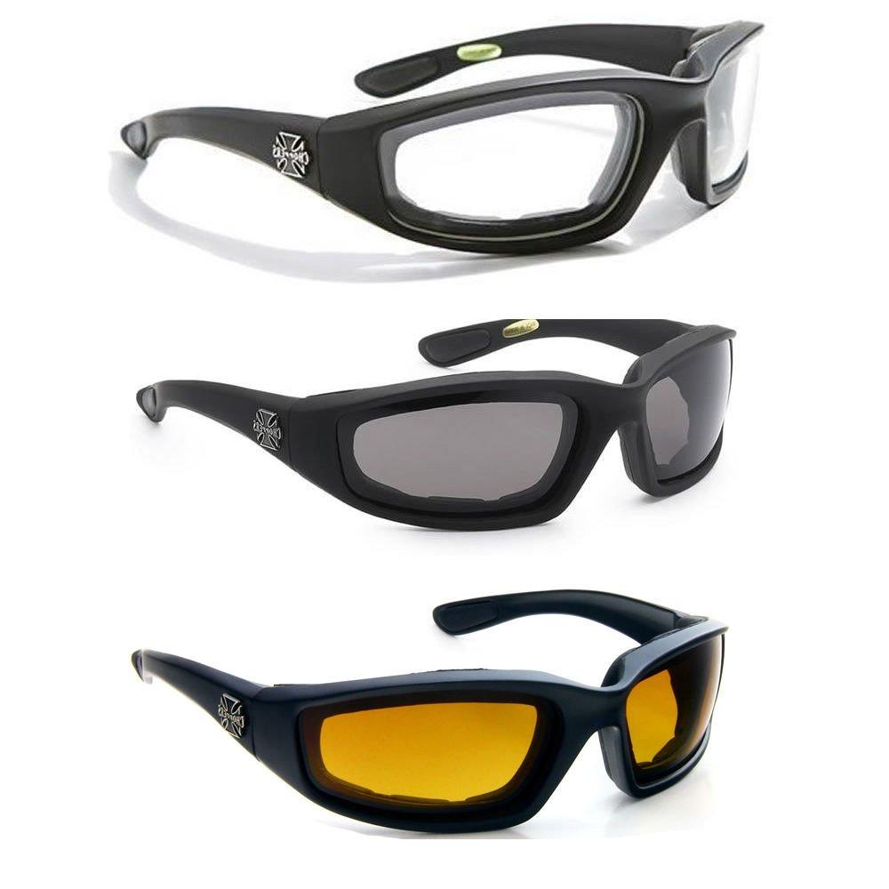 3ペアコンボChopperパッド入りWind ResistantサングラスMotorcycle Riding Glasses   B01ISJ34J8