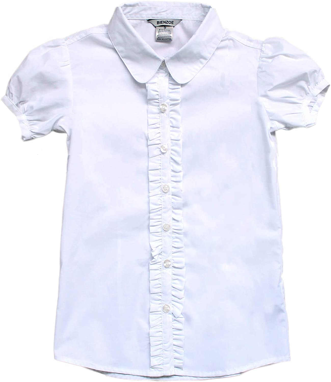 Bienzoe Girl's School Uniform Short Sleeve White Blouse: Clothing
