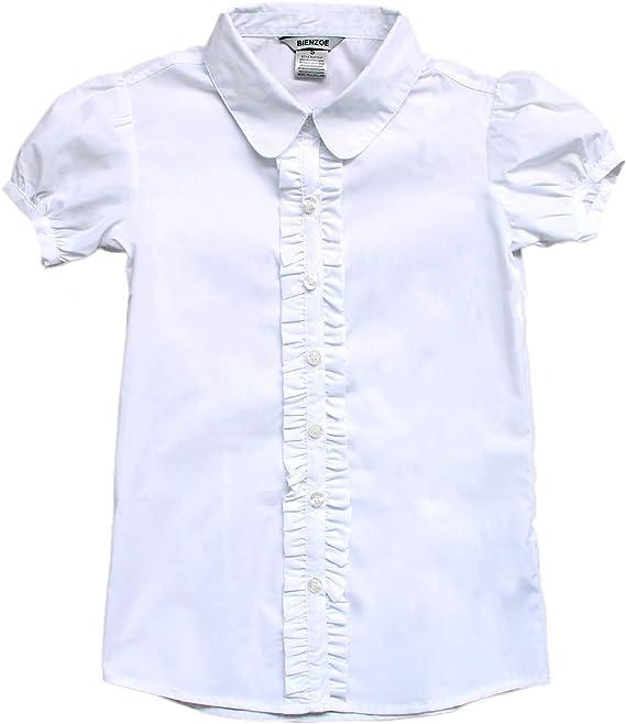 Bienzoe Niñas Uniforme Escolar Manga Corta Camisa Blanca: Amazon.es: Ropa y accesorios