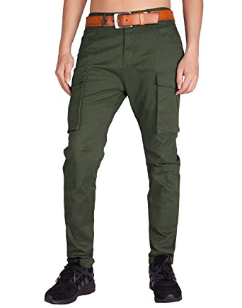 61d170e4 ITALY MORN Men's Cargo Pants Athletic Fit Big Bellows Pockets (30, Army  Green)