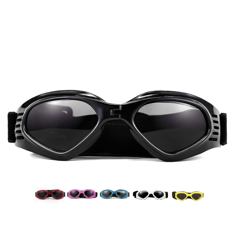 Black Vevins Dog Goggles Sunglasses UV Predective Foldable Pet Sunglasses Adjustable Waterproof Eyewear for Cat Dog (Black)