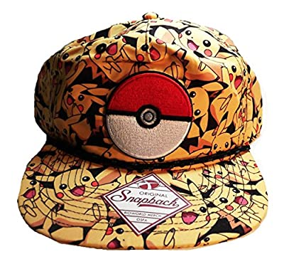 Pokemon PIKACHU All-Over Print Snapback Baseball CAP/ HAT