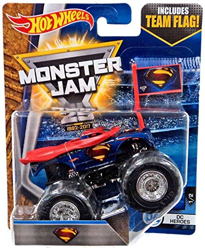 Superman Products : Hot Wheels 2017 Monster Jam - 1:64 Scale Truck with Team Flag - Superman