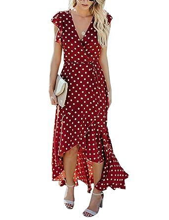 98f1ff41e1 BMJL Women's Summer Vintage Wrap Dress V Neck Boho Ruffle Polka Dot Maxi  Dress(M