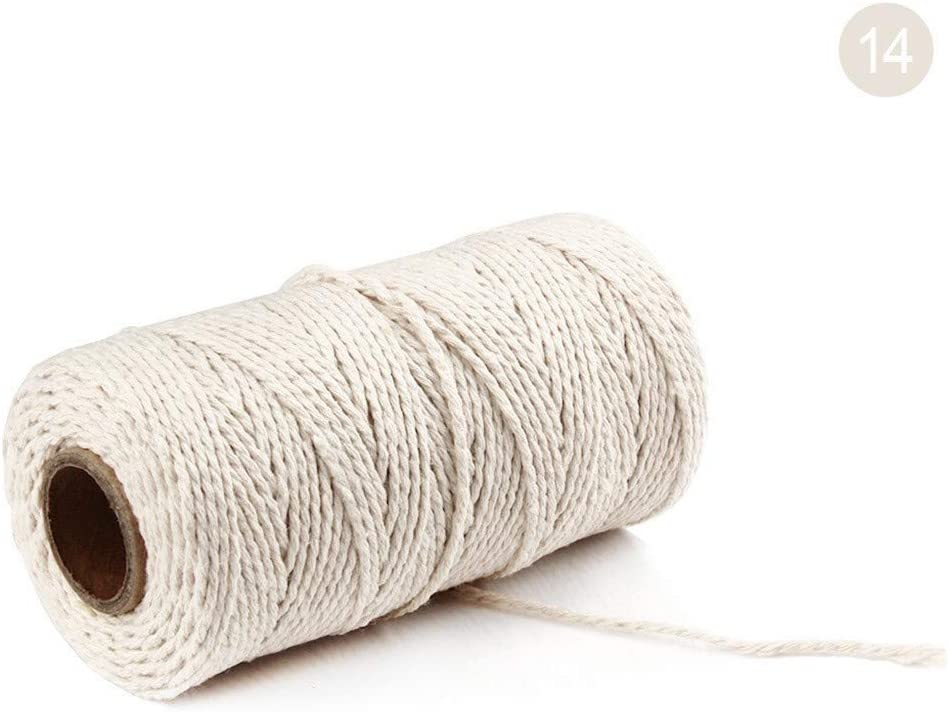 Natural Macrame Rope DIY Craft Making Knitting Ropes Twisted Cotton Cord String for Wall Hanging Plant Hanger 100Yard//2mm//, L Macrame Cotton Cord