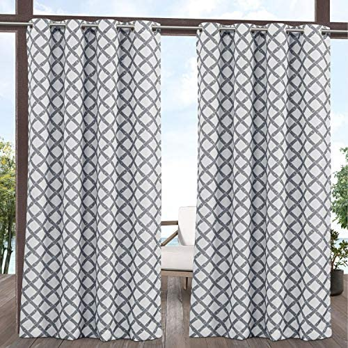 Exclusive Home Curtains Bamboo Trellis Indoor Outdoor Light Filtering Grommet Top Curtain Panel Pair, 54×96, Grey White
