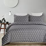 Vaulia Lightweight Microfiber Duvet Cover, with Printed Pattern, Dark Grey/White - King Size