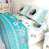 LO 5 Piece Kids Girls Blue Cute Disney Moana Comforter Twin/Full Set, Adorable Hawaii Bedding Children Beach Themed Flowers Movie Themed Hawaiian Tropical Ocean, Polyester