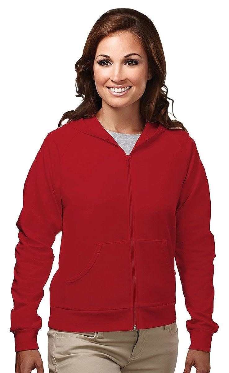 Tri-Mountain Womens cotton/poly full zip hooded sweatshirt. 639