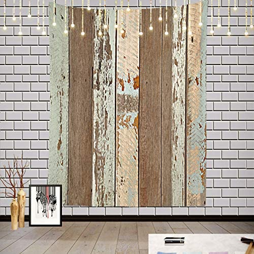 Batmerry Rustic Wood Tapestry, Brown Wooden Blue Wood Plank Wall Board Panel Print Pattern Picnic Mat Hippie Trippy Tapestry Wall Art Decor for Bedroom Living Room, 82.7 x 59.1 Inches, Wood Blue